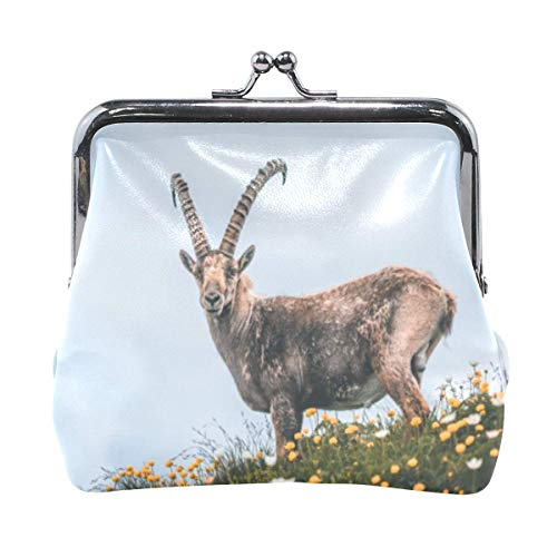 Ladies Capricorn Antelope Horn Hasp Coin Purse Clasp Pouch for Women Girls Leather Change Purse Wallet Buckle