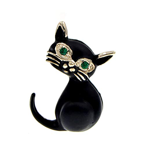 QYTSTORE Black Cat Brooch, Size: 3.1cm * 2.9cm, A Lovely Vivid Enamel Green Eye Fashion Jewelry Bag Badge For Children As A Good Gift Elegant and romantic brooch