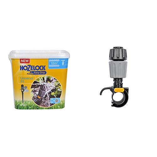 Hozelock Easy Drip Universal Watering Kit for Beds and Borders, Black, 40 x 25 x 15 cm & Easy Drip Universal Dripper