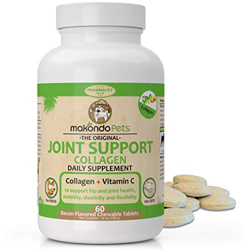 Joint Supplement for Dogs and Cats. Chews of Collagen for Dogs and Vitamin C to Support Joints Health, Mobility, Elasticity and Flexibility- Ideal Hip and Joint Supplement Dogs - 60 Tablets.