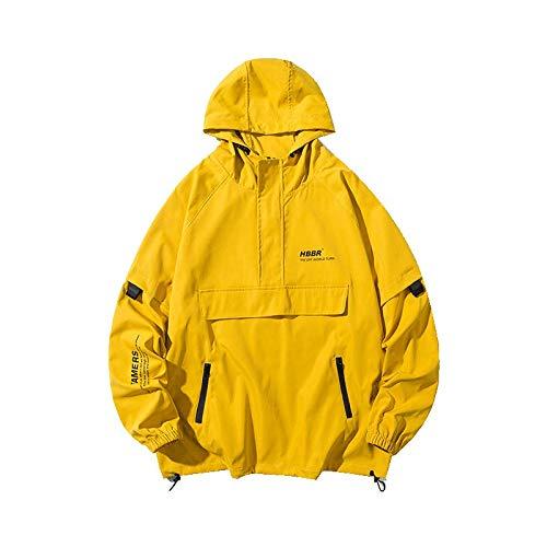 Hombres Streetwear Chaquetas Rompevientos Hombres Harajuku Cintas Hip Hop Vintage Cargo Bomber Chaquetas Yellow L