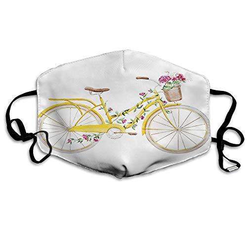 F Fiets Masker Vintage Gele Fiets met Rose Bloem Hydrangea Botanische Blad Mond Masker Unisex Maskers Herbruikbare Wasbaar Polyester Anti-Stof Masker voor Mannen Vrouwen Buiten