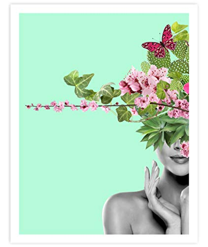 The Blessed Woman, Art Print Poster With Cactus, Eucalyptus Leaves, Flowers, Succulents and Butterflies, Home and Bedroom Wall Art, Husband and Wife Gift for Home Decor 11x14 inches, Unframed