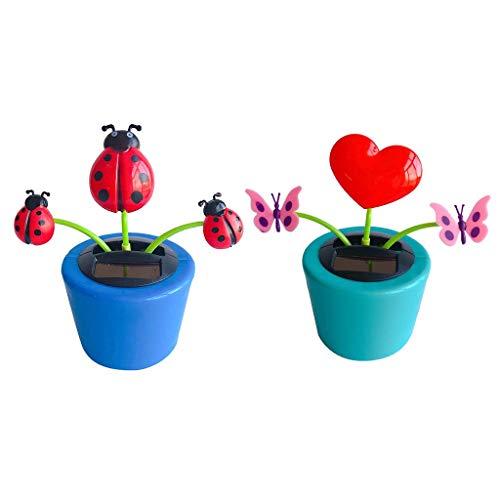 MEELLION GYMJN 2 Pieces Solar Powered Dancing Ladybug & Butterfly Plants Kids Children Toys Xmas Gifts Car Dashboard Decor