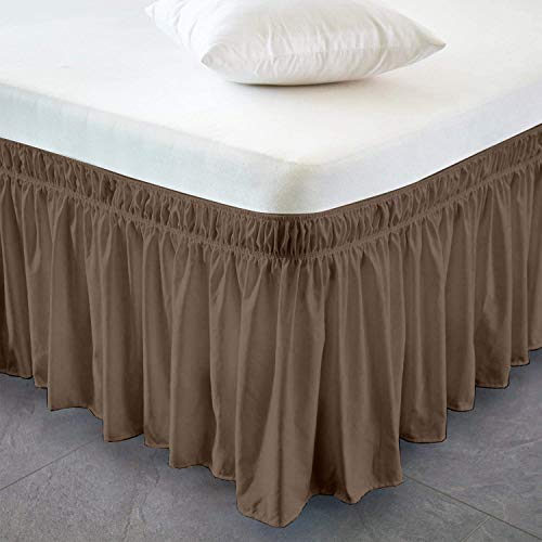 Easy ON Easy Off Bed Valance 100% Cotton Wrap Around Bed Skirt Adjustable Fit with 40cm or 16 Inch Drop (Emperor, Tan)