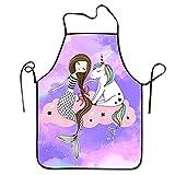 Delantal de unicornio de sirena impermeable ajustable para mujeres y hombres, cocina, cocina, cocina, hogar, barbacoa camarera