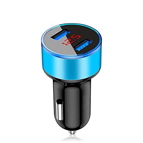XUFAN Cargador de Coche Adaptador 3.1A Voltaje LED Digital Dual USB/Visualización Actual vehículo Auto Metal del Cargador for el teléfono Elegante/Tablet Cargador de Coche (Color : Blue)