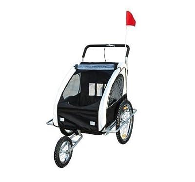 HOMCOM Remolque para Niños DOS PLAZAS con Amortiguadores Carro para Bicicleta CON BARRA INCLUIDA y Kit de Footing