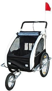 comprar comparacion HOMCOM Remolque para Niños DOS PLAZAS con Amortiguadores Carro para Bicicleta CON BARRA INCLUIDA y Kit de Footing COLOR BL...