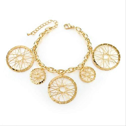 nobrand Runder Anhänger Gold Frauen Link Chain Armband Bohemian Rollstuhl Armband Schmuck Gold