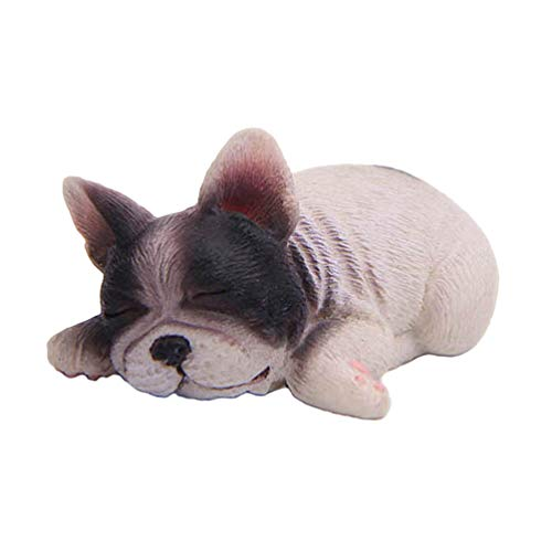 BESPORTBLE Sleeping French Bulldog Toy Resin Mini Sleeping Puppy Statue Miniature Doggy Figurine Cake Topper Car Dashboard Tabletop Ornament(Black and White)