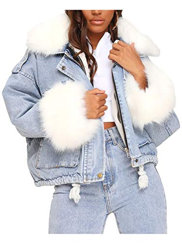 SS7 Damen übergroße Jeansjacke mit Kunstfell