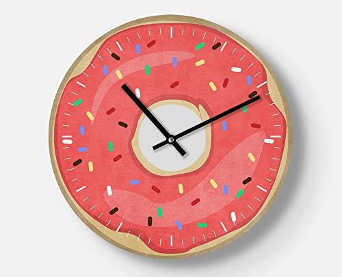 Zuckersüße Wanduhr ohne Kalorien, Donat, Pink mit Streusel, 30 cm, Leises Uhrwerk, Handgemacht, Ausgefallenes Geschenk, Coole Wanddekoration