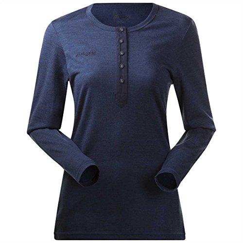 Bergans Henley T-Shirt Manches Longues en Laine Femme, Navy Melange Modèle S 2019 t Shirt Manches Longues