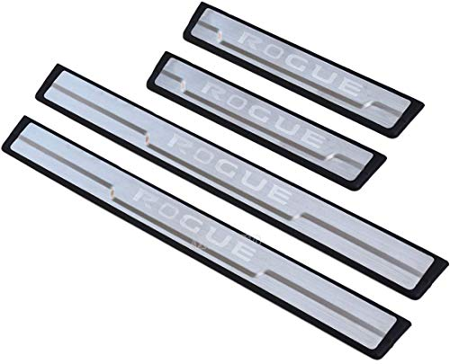 BDBT 4 Pieces Of Stainless Steel Door Sill Guards, Automotive Stainless Steel Door Sill Accessories, Stainless Steel Door Sill Guards, Car Door Sill Device, For Nissan Rogue 2020 (Stainless Plastic)