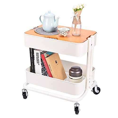 2-Tier Metal Utility Rolling Cart Storage Side End Table with Cover Board for Office Home Kitchen Organization, Cream White