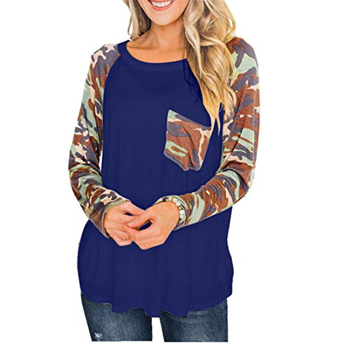Básico Leopardo Bloque de color Cuello redondo Manga larga Tops sueltos Primavera y otoño Jersey ligero Sudadera para mujer Blusa suelta Tops casuales Suéter de algodón casual con bolsillo en el pecho