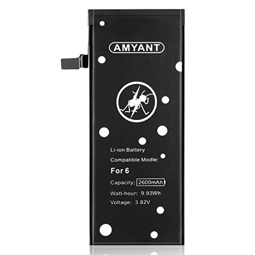 Amyant 2600mAh Upgrate Battery for iPhone 6,IP 6 (not for 6s) New Replacement Battery with Adhesive Strips (no Tools)