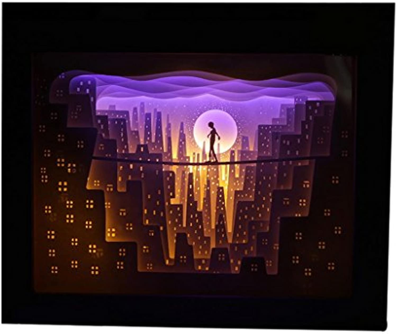 XINYE LED Schatten Papier Carving Lampe Farbe ndern Geschenk Nachtlichter mit Fernbedienung, Holz