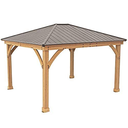 Yardistry 12' x 14' Wood Gazebo with Aluminum Roof