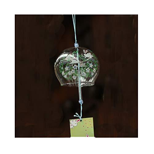 Vent Bell japonais Carillon éolien en verre fait main vent chimes- (Fleur bleue)