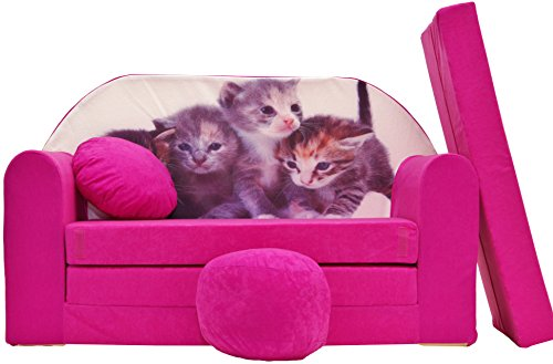 BDW Sofá cama infantil con puff/cojín, algodón, color rosa, 168 x 98 x 60 cm
