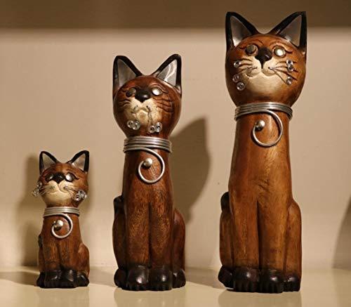 Animal Statue Chat Sculpture Sur Bois En Bois Matériel Artisanat Asie Du Sud-Est Style Chanceux...