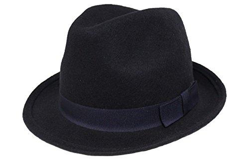 Gent Malins de feutre Chapeau avec bande de assorti – 100% laine - Bleu - L (58 cm)