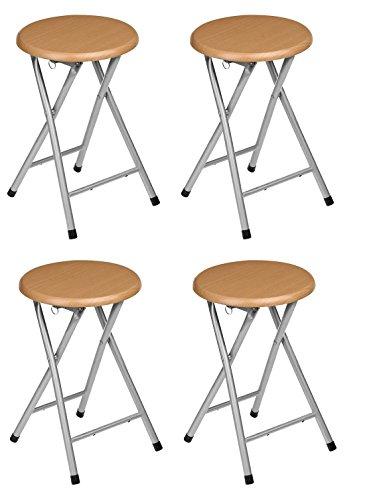 La Silla Española - Pack 4 Taburetes plegables fabricados en aluminio con asiento terminado en made