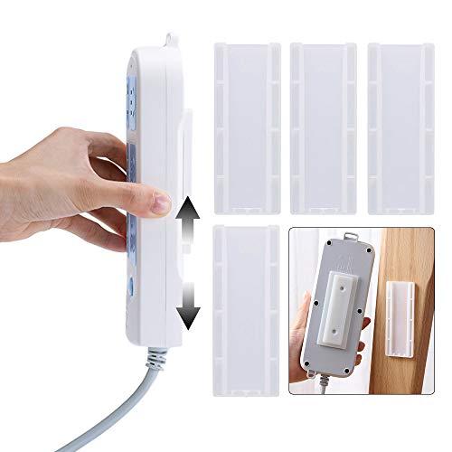 Gobesty Selbstklebender Steckdosenhalter, 5 Stücke Steckdosenleiste Wandhalterung selbstklebende Power Board-Halter für WiFi Router, Fernbedienung und Gewebe Box