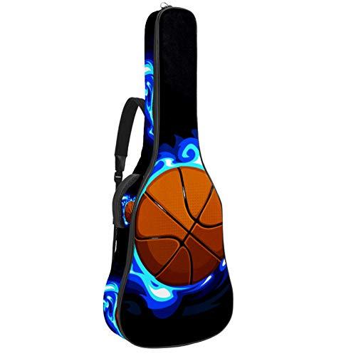 Funda para Guitarra Eléctrica Fuego de baloncesto Bolsa Guitarra Acolchada 6mm Tela Oxford impermeable para Guitarra Acústica y Clásica 40 41 pollici