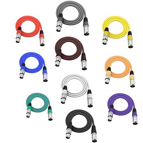 LoongGate Symmetrische Mikrofonkabel-Patchkabel - High-End-Qualität und Klangklarheit, extrem geräuscharm - XLR-Stecker auf XLR-Buchse Mikrofonkabel (1 m 10-Pack, 10 Farben)