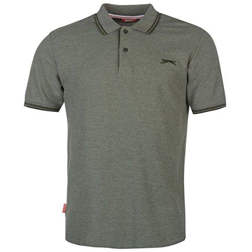 Slazenger Herren Polo Shirt Kurzarm Streifen Details Braun Marl XL