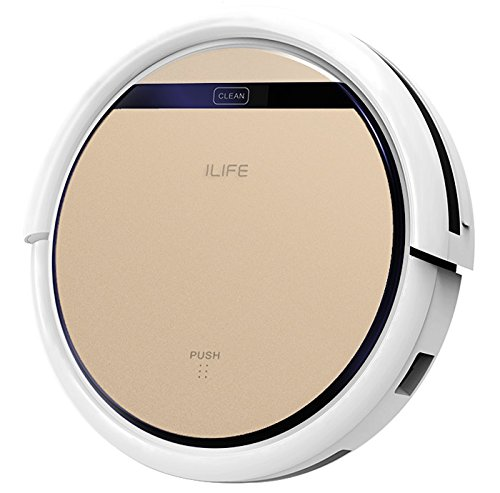 ILIFE V5s Pro Robot Vacuum Cleaner for Home 2-in-1 Wet and Dry Mopping Slim Automatic Self-Charging Robotic Vacuum Ideal for Pet Hair Hard Floor and Low Pile Carpet Random Navigation(Gold and White)