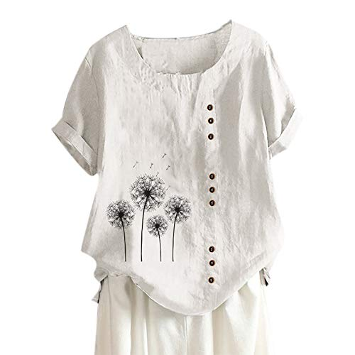 Camiseta de Mujer Estampado de Flores de Diente de LeóN Talla Grande AlgodóN Y Lino Camiseta de Mujer Manga Corta Mujer Simple Camisetas Moda Blusa