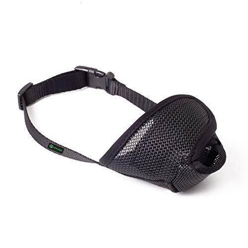 Lepark Dog Muzzle with All Around Protection Mesh Cover, Prevent Barking, Biting and Licking Breathable Mesh Muzzle(XS,Black)