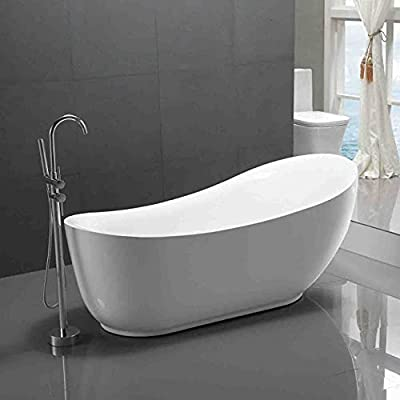 ANZZI Talyah Glossy Acrylic White Freestanding Soaker Tub | Luxury Bathtub Deep Soaker with Built in Overflow and Drain | Modern Bathroom Stand Alone Tubs | FT-AZ090