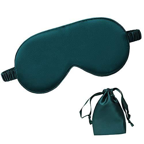 dressfan Seide Schlafmaske Augenmaske Schattierung Augenbinde Travel Nachtmaske Tragbarer mit verstellbarem Gummiband für Frauen und Herren,Grün