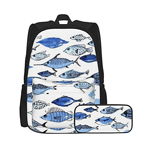 Conjunto de mochila y estuche para lápices, bolsa de ordenador portátil y estuche combinación, mochila de trabajo y estudio y bolsa de cosméticos combinación acuario peces azules