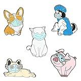 Amosfun 5 bonitos broches de animal, con diseño de animal, esmaltados, de aleación, para mochilas, pañuelos, sombreros