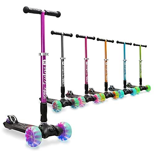 3StyleScooters® RGS-3 Patinete Scooter Tres Ruedas para Niños Mayores Niños de 7 Años o Más con Luces LED en Ruedas de 5cm, Diseño Plegable, Manillar Ajustable (Púrpura, 7 Años y Más)