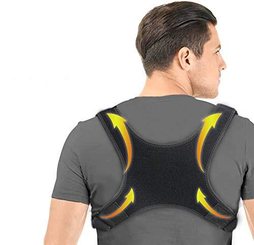 Charminer Haltungstrainer, Geradehalter zur Rückentrainer Schulter Gürtel, Schwarz Verstellbar Atmungsaktiv Haltungstrainer mit 2 Schulterpolster, für Damen, Herren, Student