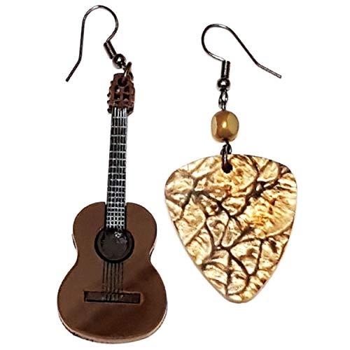 VIALESCARPE - Handgefertigte Ohrhänger Arky Fly aus farbigem Plexiglas, lasergraviert. Gitarre und Plektrum. 8 x 2 cm. Damen; Braun und Marmor; UNI