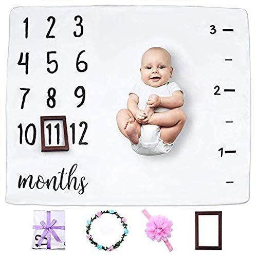 FZ FUTURE Nouveau née Couverture de Props de Photographie, Baby Props imprimé Coton Mensuel Milestone Wrap Swaddle Couvertures, Cadeau de Shower de bébé,100 x 120cm