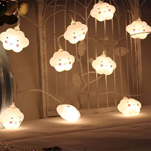 Ysoom Wolken Lichterkette Batterie 20 LEDs Warmweiß Nachtlichter für Kinder Scherzt Schlafzimmer Korridor Girlanden Hochzeits Innen Weihnachts Dekoration 3.5m