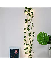 Zunbo Łańcuch świetlny LED, sztuczne rośliny, zielony, liść bluszczu, do domu, dekoracji, na wesele, do zawieszenia, ogrodu, na podwórko, oświetlenie, 2 m, 20 diod LED (1)
