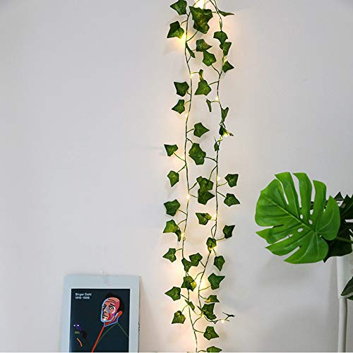 Zunbo 20 LED Fairy Lights Artificial Plants Green and Rose Ivy Leaf for Home Decoration Wedding Lamp Hanging Garden Courtyard Lighting, 2 m, 1, 1 Pc Feuille d'érable