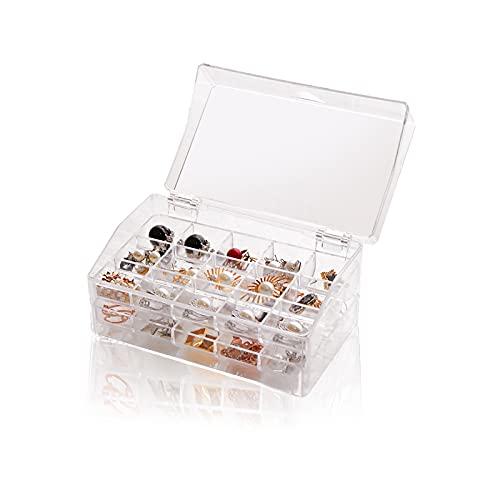 KELEOINA Caja de joyería transparente, caja de pendientes, Organizador de joyería de dos capas, hecho de plástico, 30 ranuras para pendientes de anillo, para mujeres niñas