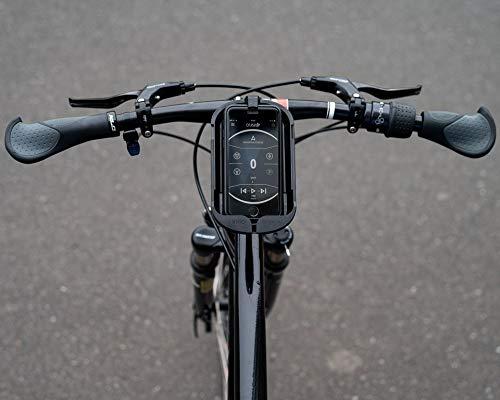 SMINNO® CESAcruise S Universäller Smartphone Halter & Freisprecheinrichtung, Fahrrad, E-Bike, Roller, Cockpit mit APP, Schwarz,
