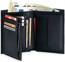 KORUTA® Leder Geldbörse Herren mit RFID Schutz I Portemonnaie Groß mit Münzfach I 13 Fächer I Echtleder Geldbeutel für...